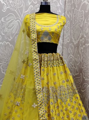 Embroidered Satin Silk Yellow Lehenga Choli