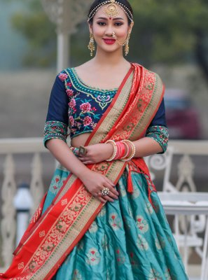 Embroidered Sea Green A Line Lehenga Choli