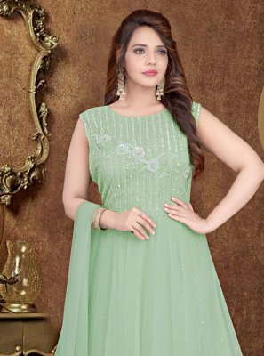 Embroidered Sea Green Designer Gown