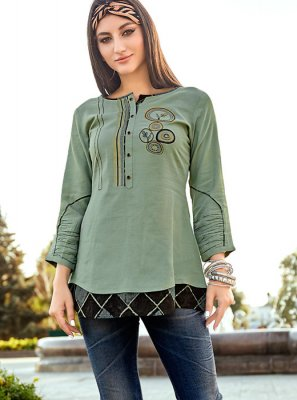 Embroidered Sea Green Rayon Party Wear Kurti