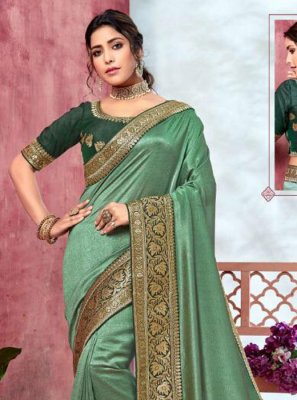 Embroidered Sea Green Silk Classic Designer Saree
