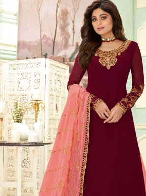 Embroidered Shamita Shetty Faux Georgette Designer Salwar Suit
