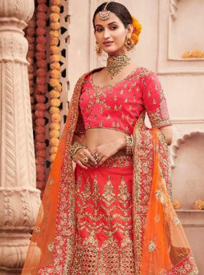 Embroidered Silk A Line Lehenga Choli in Orange