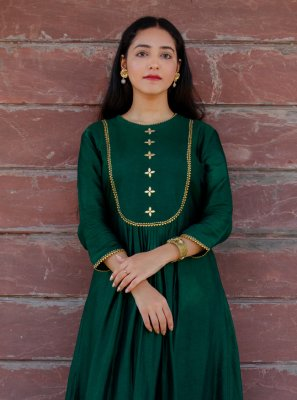 2 Pieces Bottle Green Russian Silk Dress