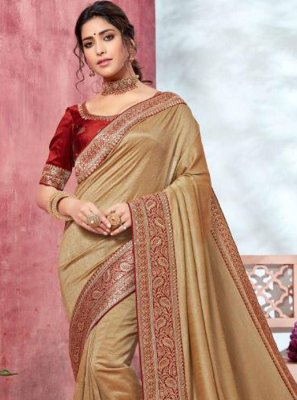 Embroidered Silk Beige Classic Designer Saree