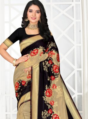 Embroidered Silk Black and Cream Classic Saree
