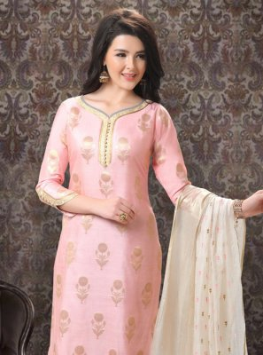 Embroidered Silk Churidar Designer Suit