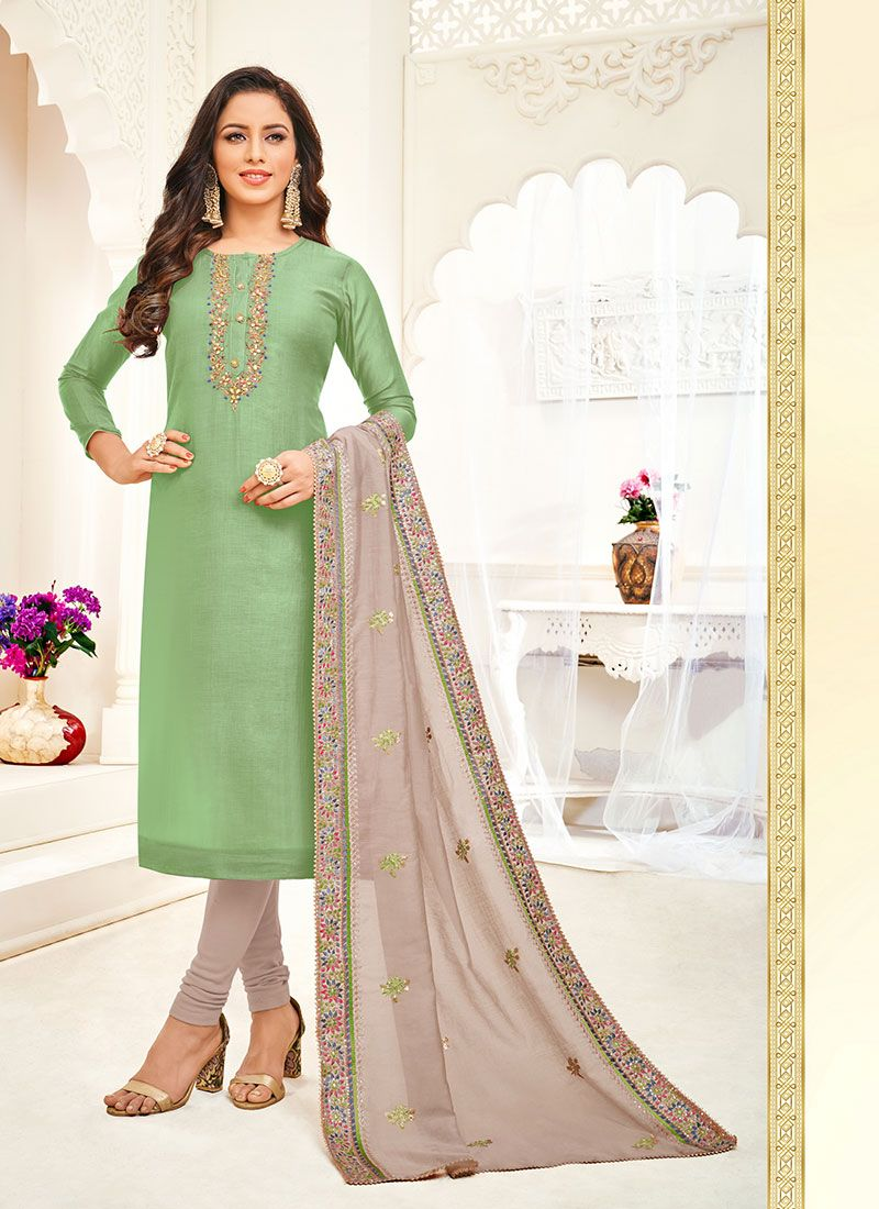 Embroidered Silk Churidar Suit