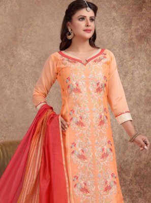 Embroidered Silk Churidar Suit
