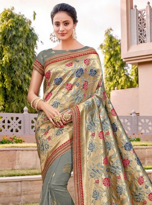 Embroidered Silk Classic Designer Saree in Grey