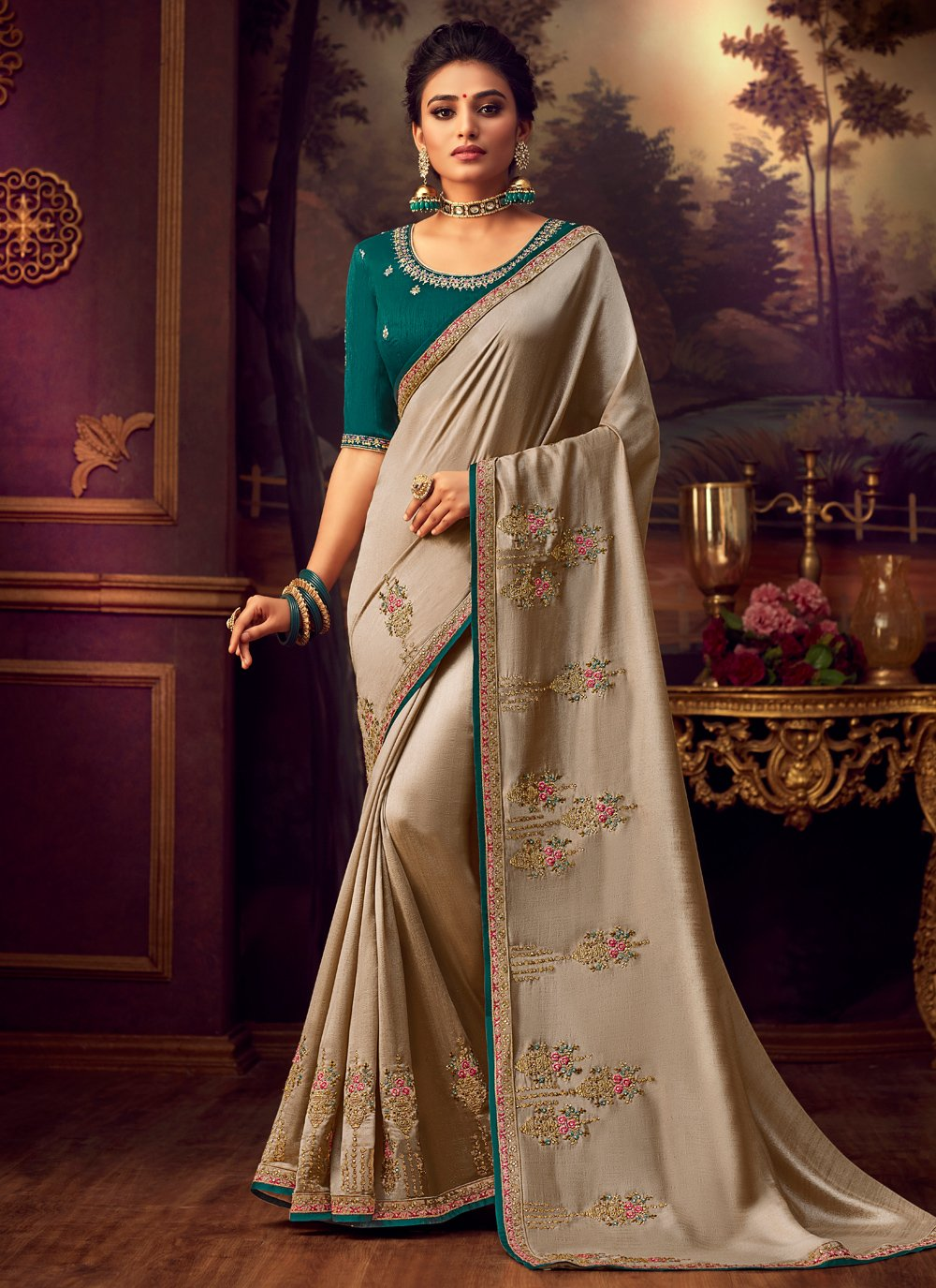 Embroidered Silk Classic Saree in Beige