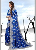 Embroidered Silk Classic Saree in Blue