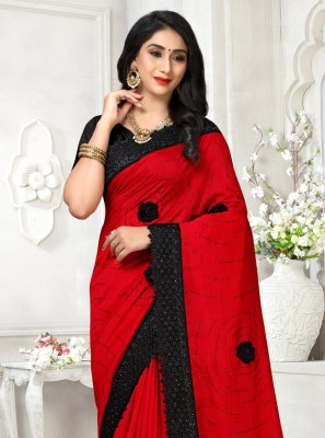 Embroidered Silk Classic Saree in Red