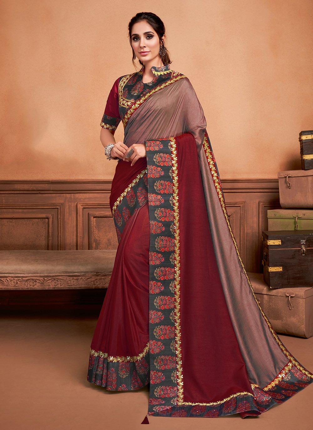 Embroidered Silk Classic Saree in Wine