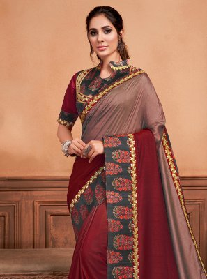 Embroidered Silk Classic Saree in Wine