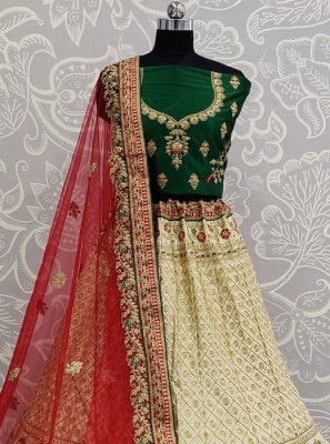 Embroidered Silk Cream Lehenga Choli