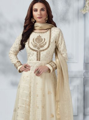 Embroidered Silk Cream Salwar Kameez
