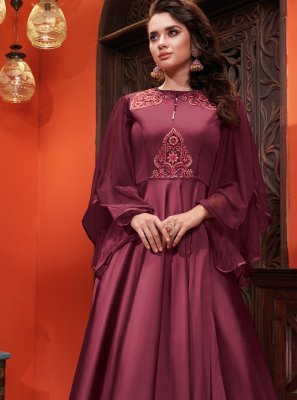 Embroidered Silk Designer Gown