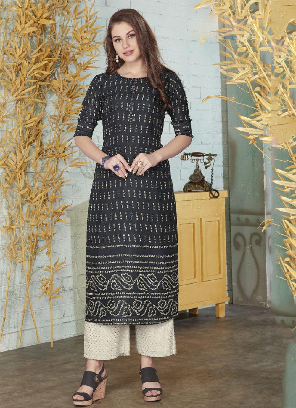 Embroidered Silk Designer Kurti
