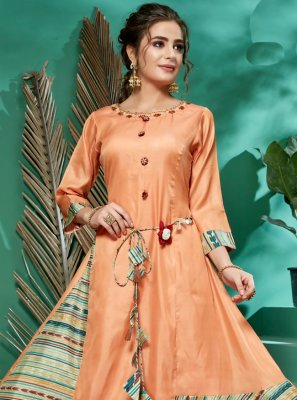 Embroidered Silk Designer Kurti in Orange