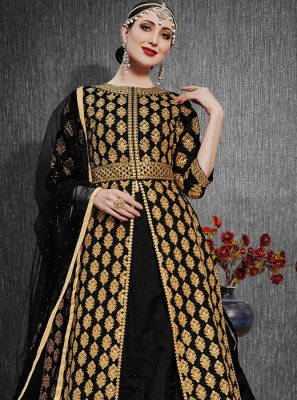 Embroidered Silk Designer Lehenga Choli in Black