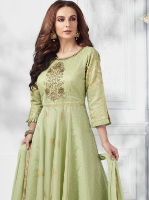 Embroidered Silk Designer Salwar Suit in Green