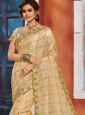 Embroidered Silk Designer Saree in Gold