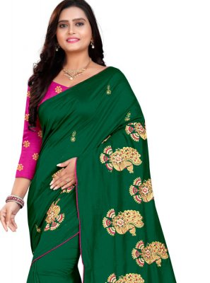 Embroidered Silk Green Classic Saree