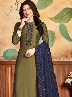 Embroidered Silk Green Designer Salwar Kameez