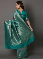 Embroidered Silk Green Designer Saree