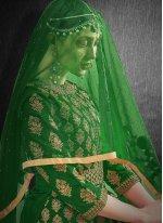 Embroidered Silk Green Lehenga Choli