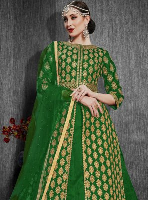 Embroidered Silk Green Lehenga Choli