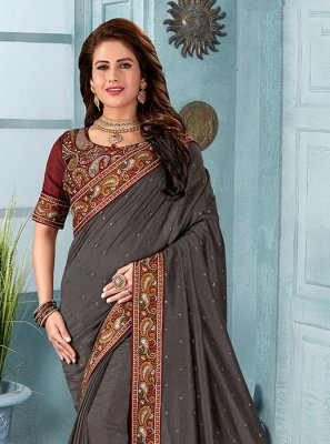 Embroidered Silk Grey Classic Saree