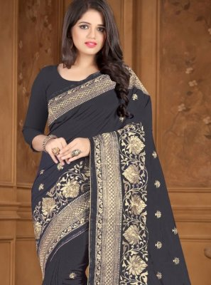 Embroidered Silk Black Traditional Saree