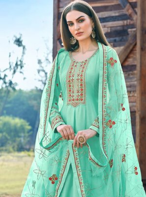 Embroidered Silk Long Length Salwar Suit