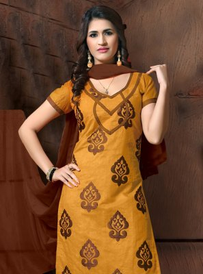Embroidered Silk Mustard Salwar Suit