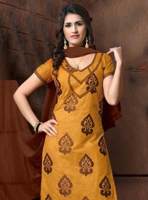 Embroidered Silk Mustard Salwar Suit