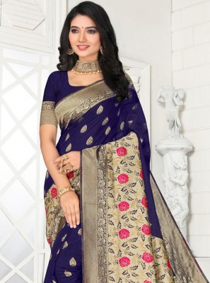 Embroidered Silk Navy Blue Classic Saree