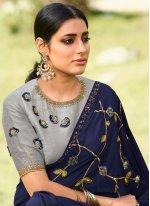 Embroidered Silk Navy Blue Trendy Saree