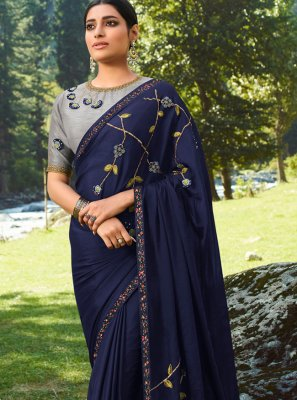 Embroidered Silk Navy Blue Trendy Saree