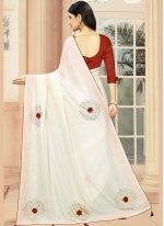 Embroidered Silk Off White Designer Saree