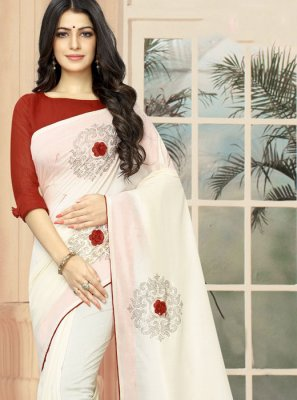 Embroidered Silk Off White Designer Saree