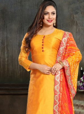 Embroidered Silk Orange Designer Salwar Suit