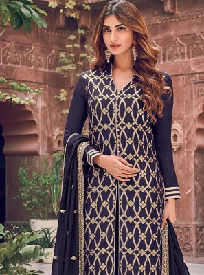 Embroidered Silk Palazzo Designer Salwar Suit