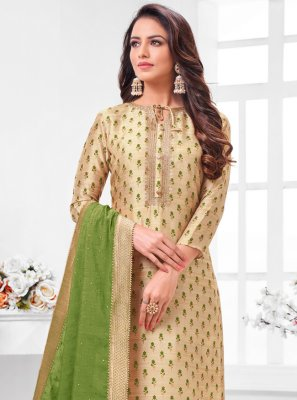 Embroidered Silk Pant Style Suit in Beige