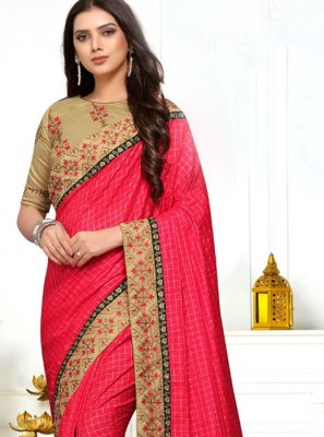 Embroidered Silk Pink Classic Designer Saree