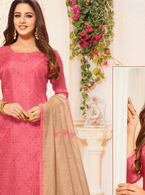 Embroidered Silk Pink Salwar Suit
