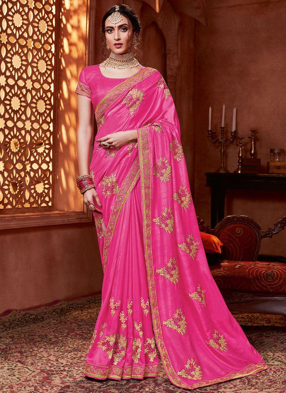 Embroidered Silk Pink Silk Saree