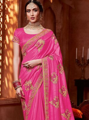 Embroidered Silk Pink Silk Saree