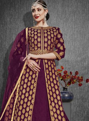 Embroidered Silk Purple A Line Lehenga Choli